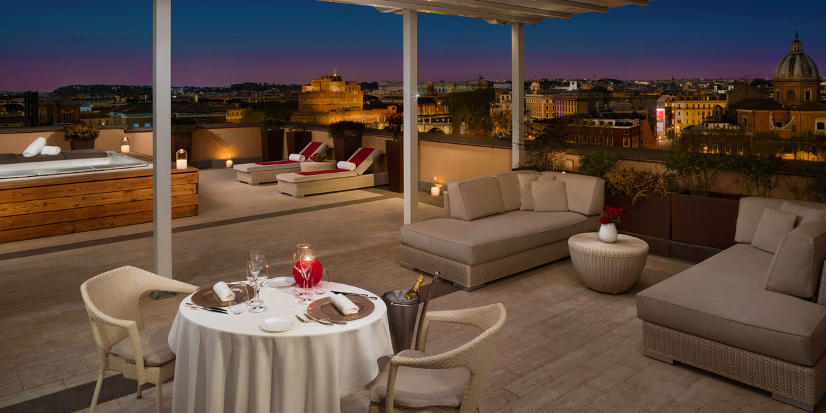 Terrace for Corporate Events, Gran Melia Rome Villa Agrippina, Prestigious Venues