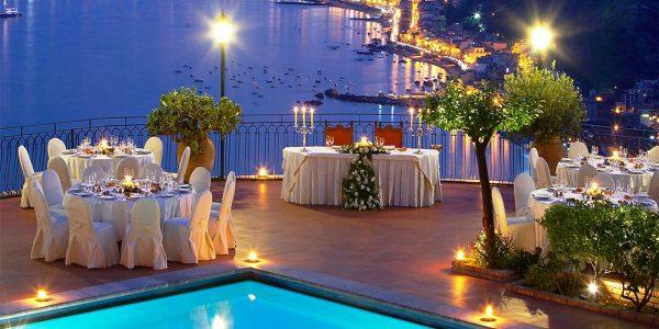 Poolside Ocean View Dinner, Sicily, Benvenuto, Hotel Villa Diodoro, Prestigious Venues