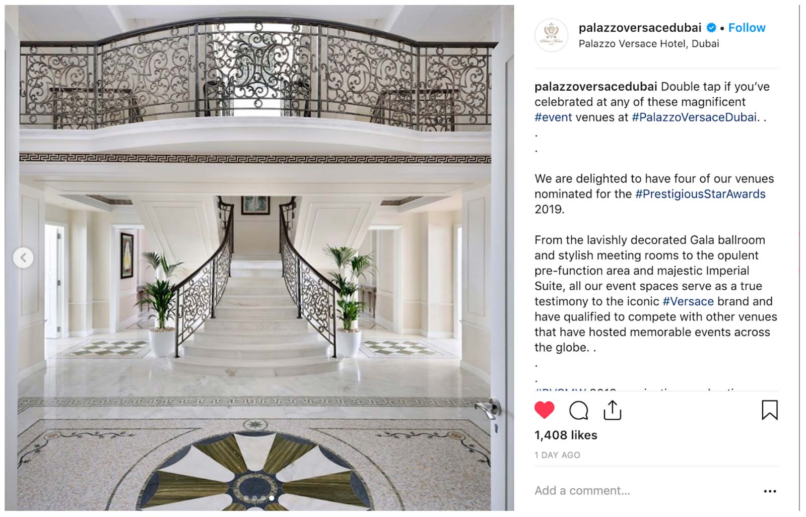 Palazzo Versace Dubai, Prestigious Venues Social Media Week, 1