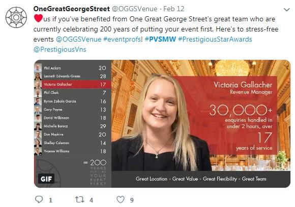 One Great George Street, PVSMW 2019, Prestigious Venues