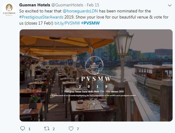 The Royal Horseguards Hotel, PVSMW 2019, Prestigious Venues