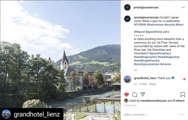 Grand Hotel Lienz, Terrace, PVSMW 2020, Prestigious Venues