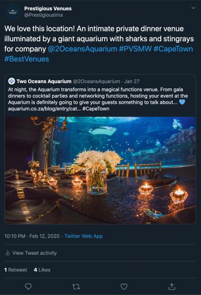 Two Oceans Aquarium, PVSMW 2020, Prestigious Venues