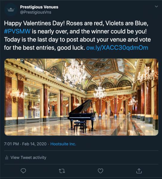 Valentines post, PVSMW 2020, Prestigious Venues