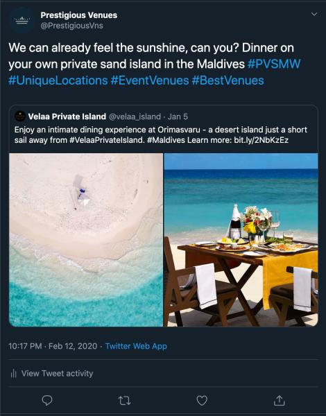 Velaa Private Island, Private Dining Venue,  PVSMW 2020, Prestigious Venues