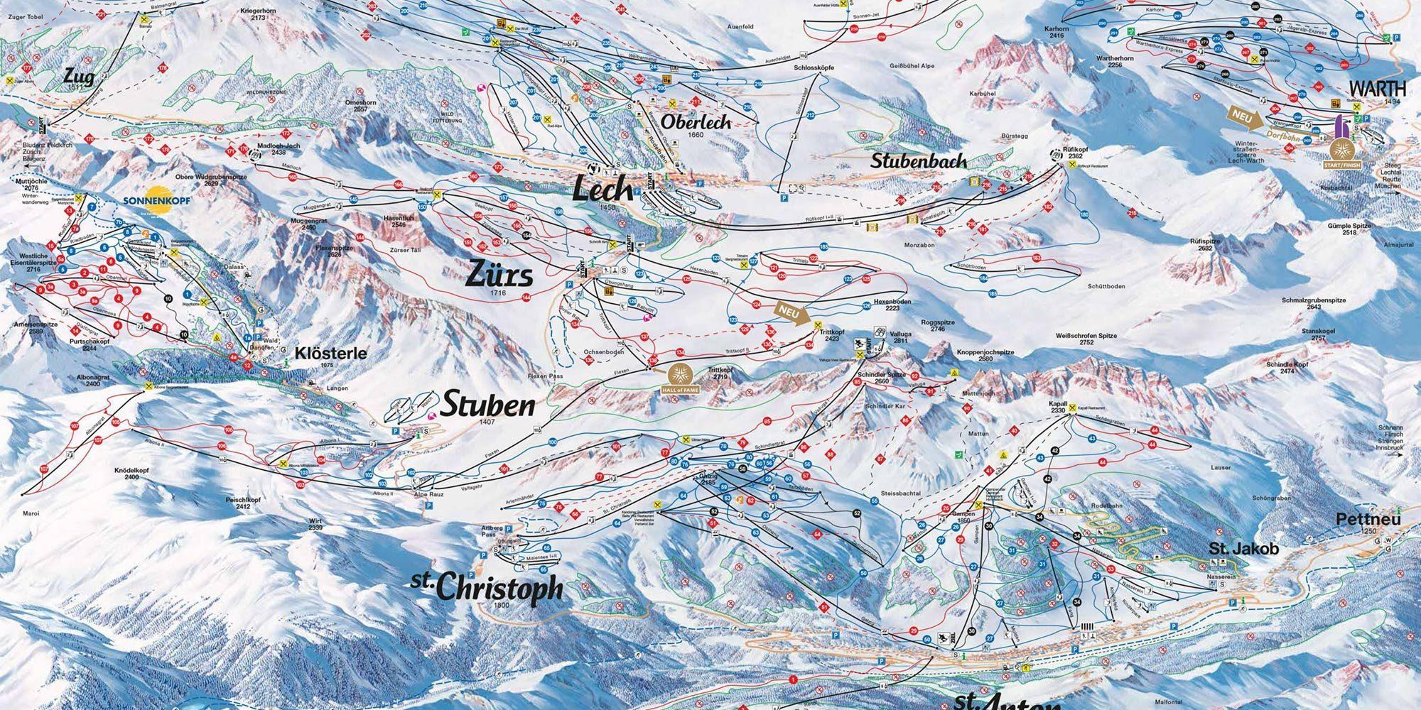 St Christoph, St Anton, Lech, Ski Map 2018
